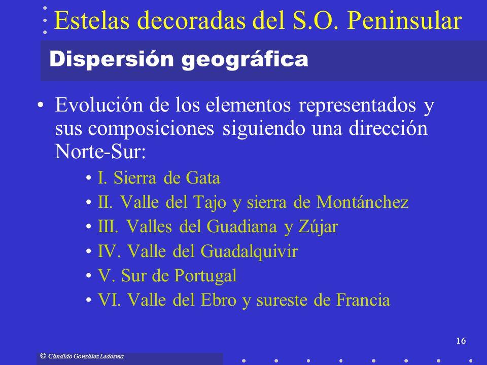 16 © Cándido González Ledesma Dispersión geográfica Evolución de los elementos representados y sus composiciones siguiendo una dirección Norte-Sur: I.