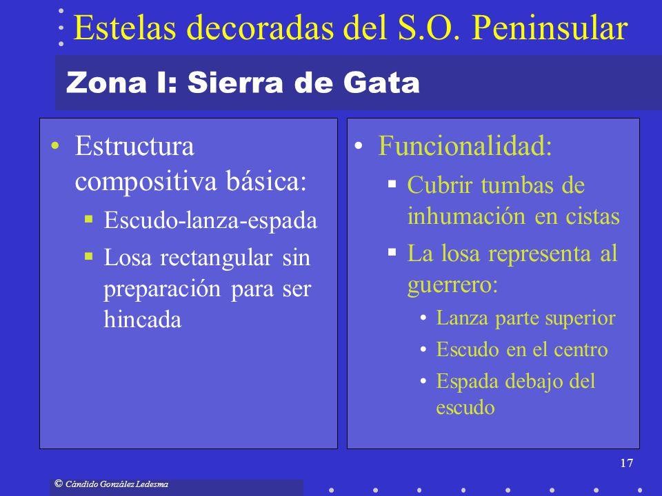 17 © Cándido González Ledesma Zona I: Sierra de Gata Estructura compositiva básica: Escudo-lanza-espada Losa rectangular sin preparación para ser hinc