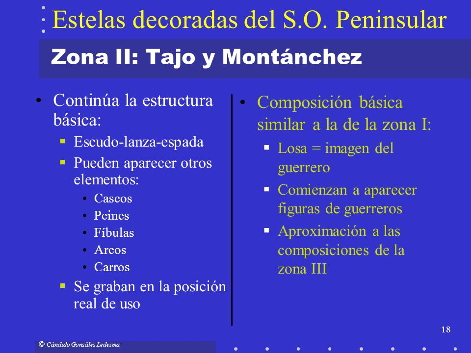 18 © Cándido González Ledesma Zona II: Tajo y Montánchez Continúa la estructura básica: Escudo-lanza-espada Pueden aparecer otros elementos: Cascos Pe