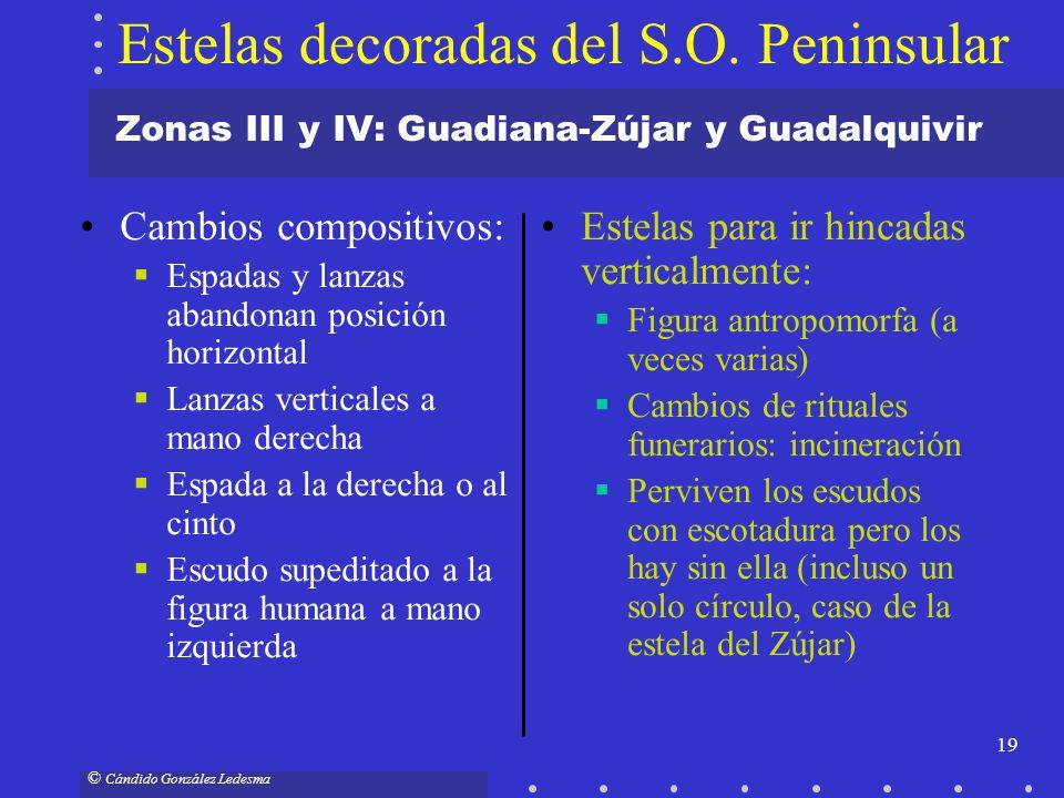 19 © Cándido González Ledesma Zonas III y IV: Guadiana-Zújar y Guadalquivir Cambios compositivos: Espadas y lanzas abandonan posición horizontal Lanza