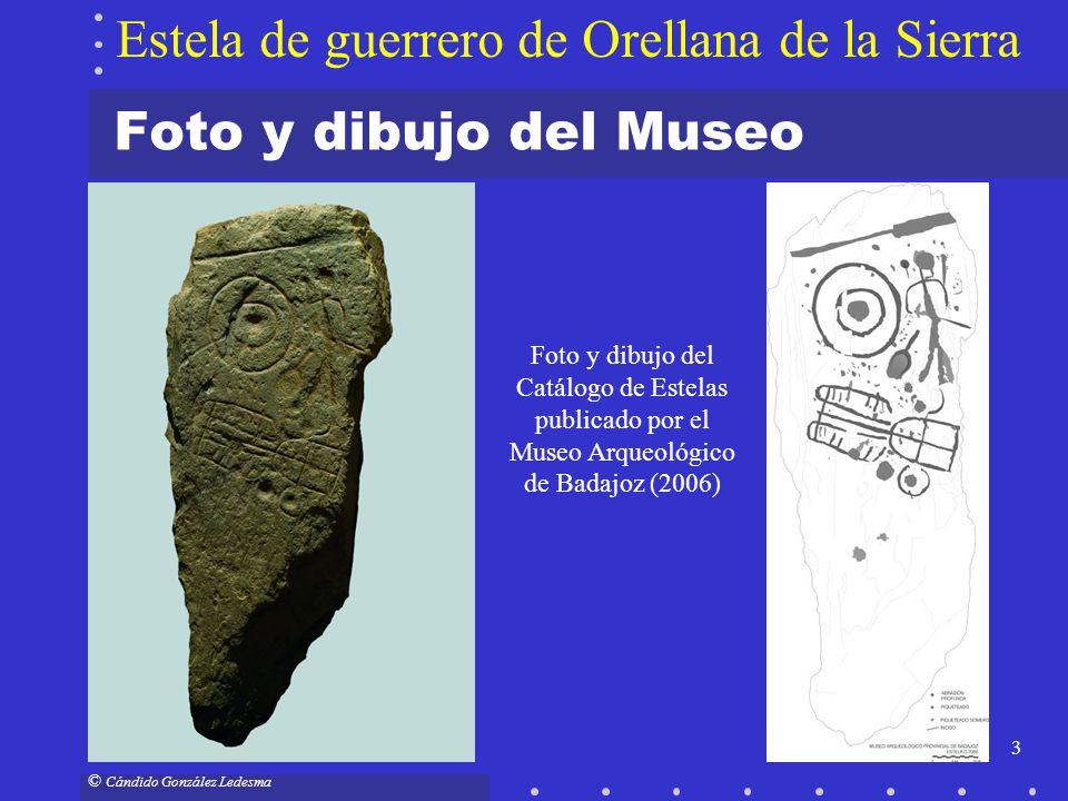 3 © Cándido González Ledesma Foto y dibujo del Museo Estela de guerrero de Orellana de la Sierra Foto y dibujo del Catálogo de Estelas publicado por e