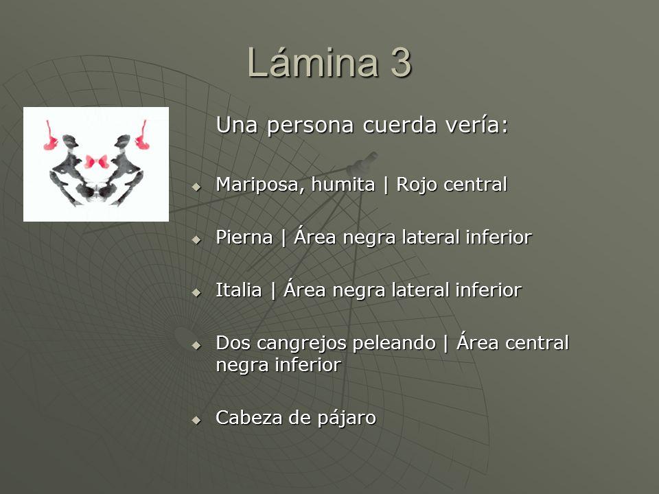 Lámina 3 Una persona cuerda vería: Mariposa, humita | Rojo central Mariposa, humita | Rojo central Pierna | Área negra lateral inferior Pierna | Área