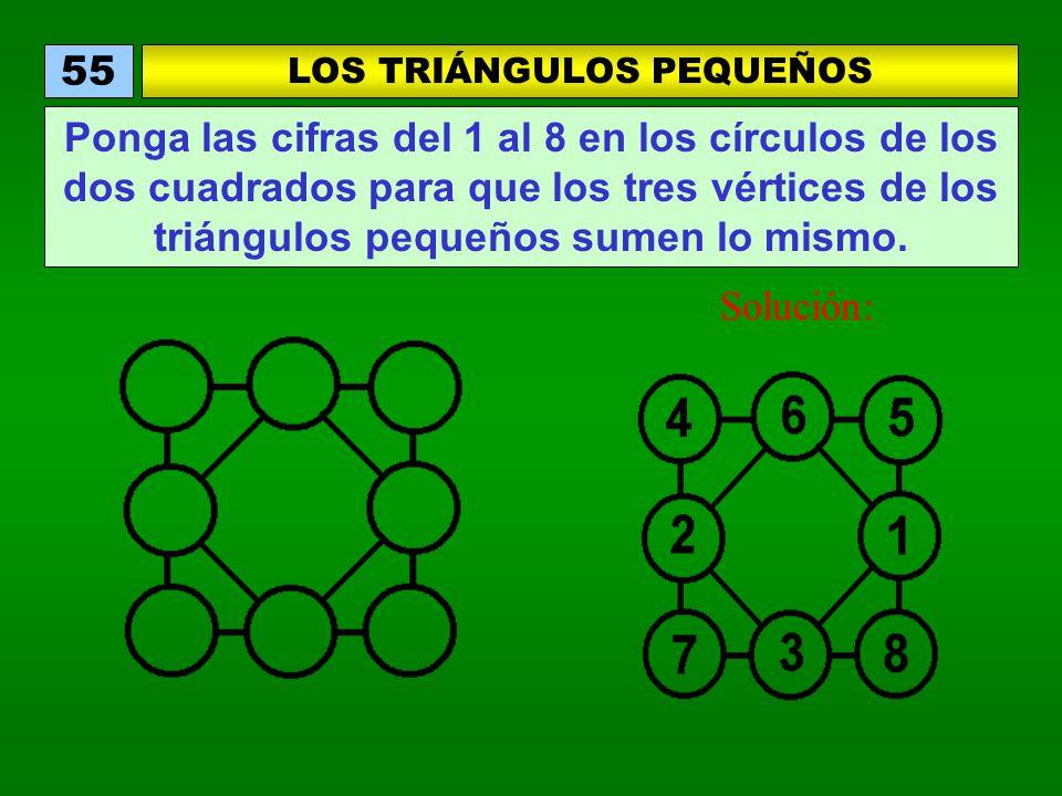 LOS TRIÁNGULOS PEQUEÑOS 55 Ponga las cifras del 1 al 8 en los círculos de los dos cuadrados para que los tres vértices de los triángulos pequeños sumen lo mismo.