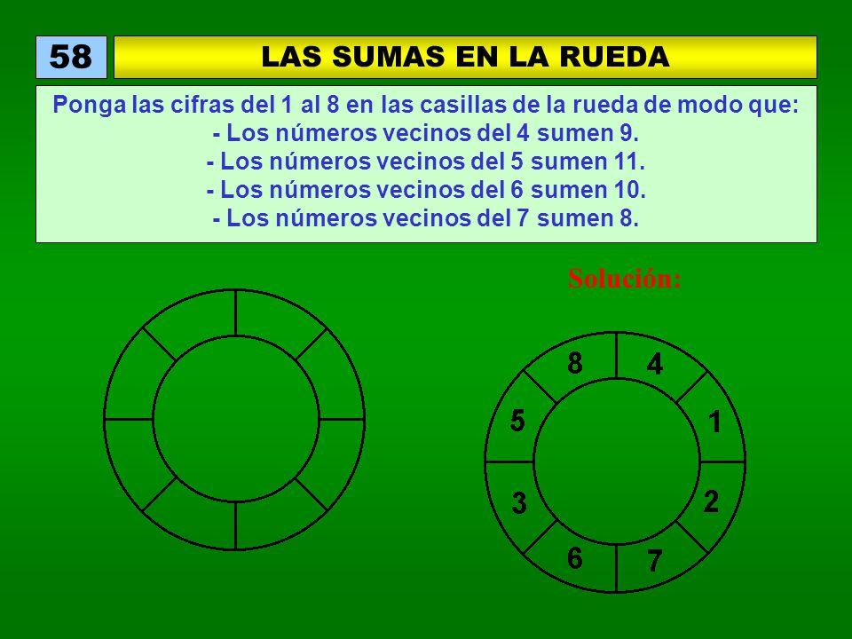 LAS SUMAS EN LA RUEDA 58 Ponga las cifras del 1 al 8 en las casillas de la rueda de modo que: - Los números vecinos del 4 sumen 9. - Los números vecin