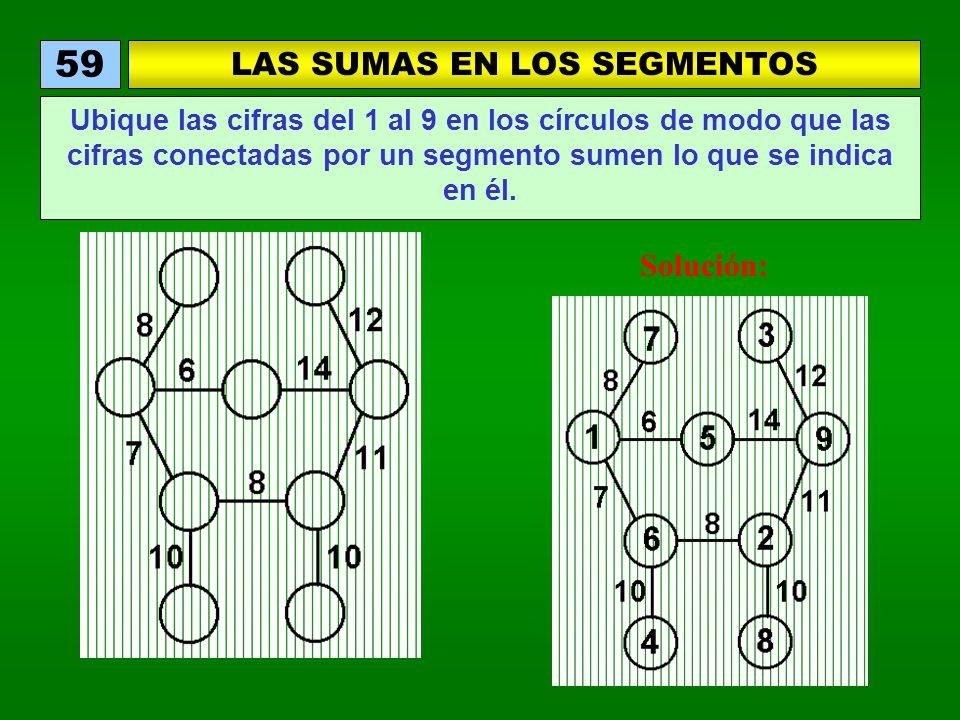 LAS SUMAS EN LOS SEGMENTOS 59 Ubique las cifras del 1 al 9 en los círculos de modo que las cifras conectadas por un segmento sumen lo que se indica en