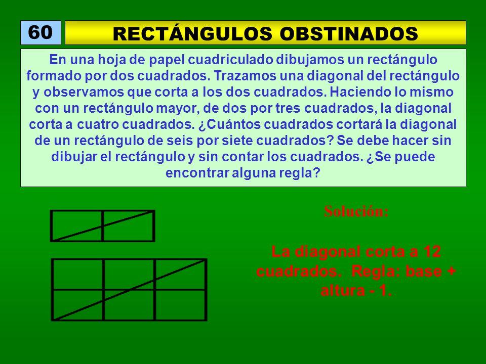 RECTÁNGULOS OBSTINADOS 60 En una hoja de papel cuadriculado dibujamos un rectángulo formado por dos cuadrados. Trazamos una diagonal del rectángulo y