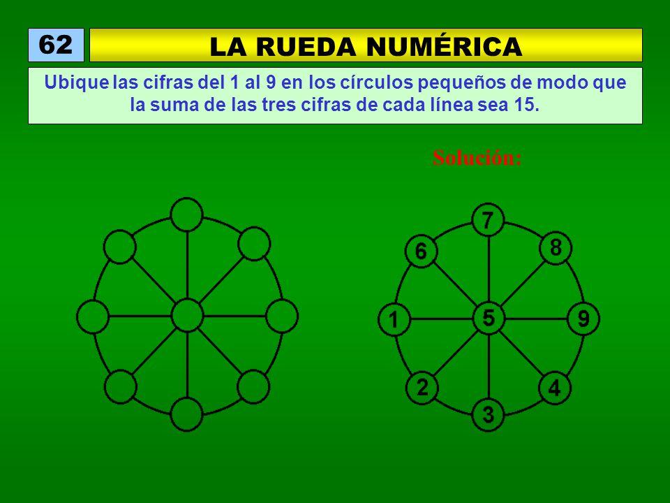 LA RUEDA NUMÉRICA 62 Ubique las cifras del 1 al 9 en los círculos pequeños de modo que la suma de las tres cifras de cada línea sea 15. Solución: