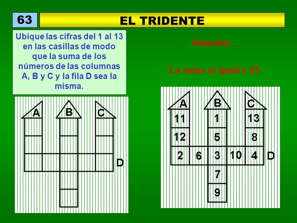 EL TRIDENTE 63 Ubique las cifras del 1 al 13 en las casillas de modo que la suma de los números de las columnas A, B y C y la fila D sea la misma. Sol