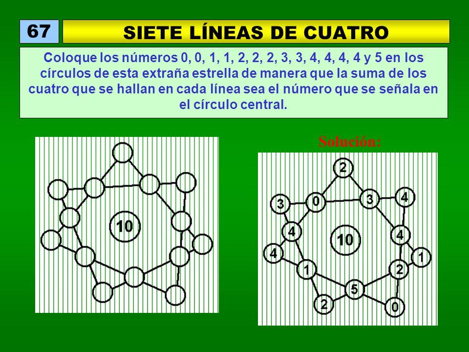 SIETE LÍNEAS DE CUATRO 67 Coloque los números 0, 0, 1, 1, 2, 2, 2, 3, 3, 4, 4, 4, 4 y 5 en los círculos de esta extraña estrella de manera que la suma de los cuatro que se hallan en cada línea sea el número que se señala en el círculo central.