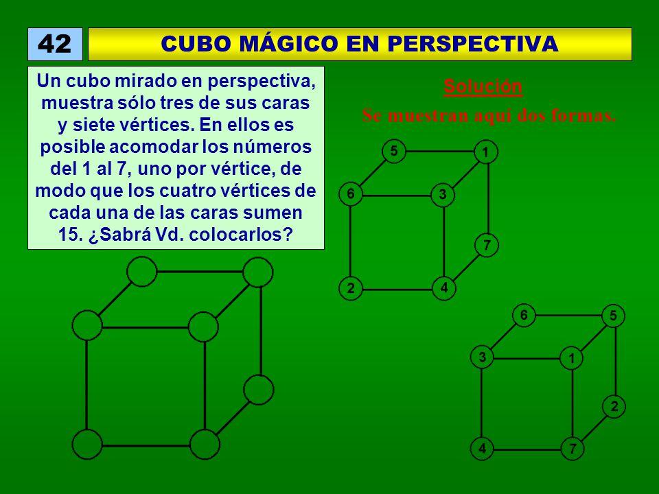 Se muestran aquí dos formas. CUBO MÁGICO EN PERSPECTIVA 42 Un cubo mirado en perspectiva, muestra sólo tres de sus caras y siete vértices. En ellos es