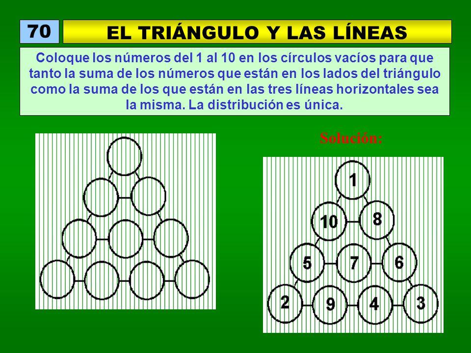 EL TRIÁNGULO Y LAS LÍNEAS 70 Coloque los números del 1 al 10 en los círculos vacíos para que tanto la suma de los números que están en los lados del triángulo como la suma de los que están en las tres líneas horizontales sea la misma.