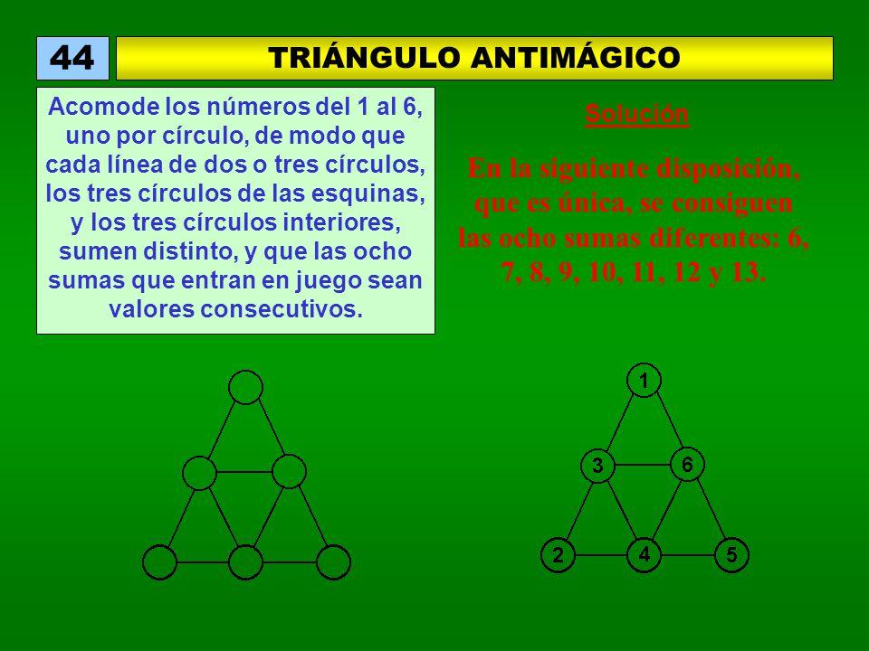 TRIÁNGULO ANTIMÁGICO 44 Acomode los números del 1 al 6, uno por círculo, de modo que cada línea de dos o tres círculos, los tres círculos de las esquinas, y los tres círculos interiores, sumen distinto, y que las ocho sumas que entran en juego sean valores consecutivos.