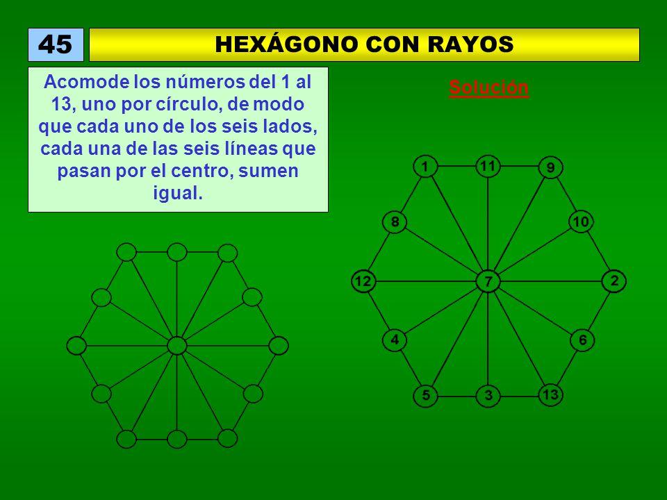 HEXÁGONO CON RAYOS 45 Acomode los números del 1 al 13, uno por círculo, de modo que cada uno de los seis lados, cada una de las seis líneas que pasan por el centro, sumen igual.