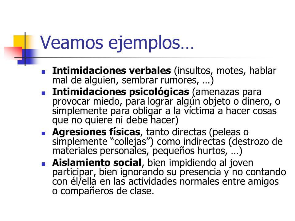 Veamos ejemplos… Intimidaciones verbales (insultos, motes, hablar mal de alguien, sembrar rumores, …) Intimidaciones psicológicas (amenazas para provo