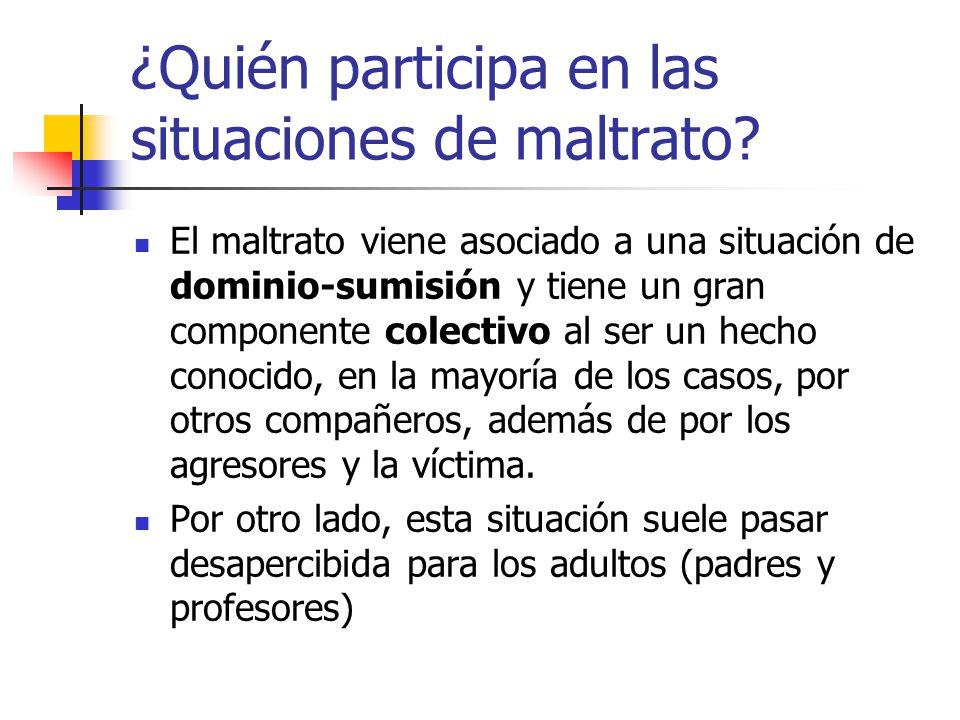 ¿Quién participa en las situaciones de maltrato? El maltrato viene asociado a una situación de dominio-sumisión y tiene un gran componente colectivo a