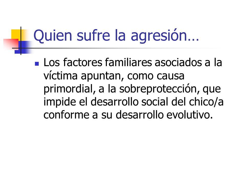 Quien sufre la agresión… Los factores familiares asociados a la víctima apuntan, como causa primordial, a la sobreprotección, que impide el desarrollo