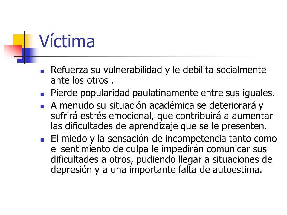 Víctima Refuerza su vulnerabilidad y le debilita socialmente ante los otros. Pierde popularidad paulatinamente entre sus iguales. A menudo su situació