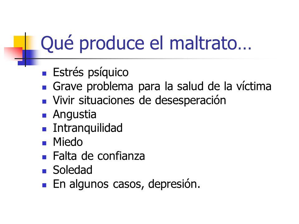 Qué produce el maltrato… Estrés psíquico Grave problema para la salud de la víctima Vivir situaciones de desesperación Angustia Intranquilidad Miedo F