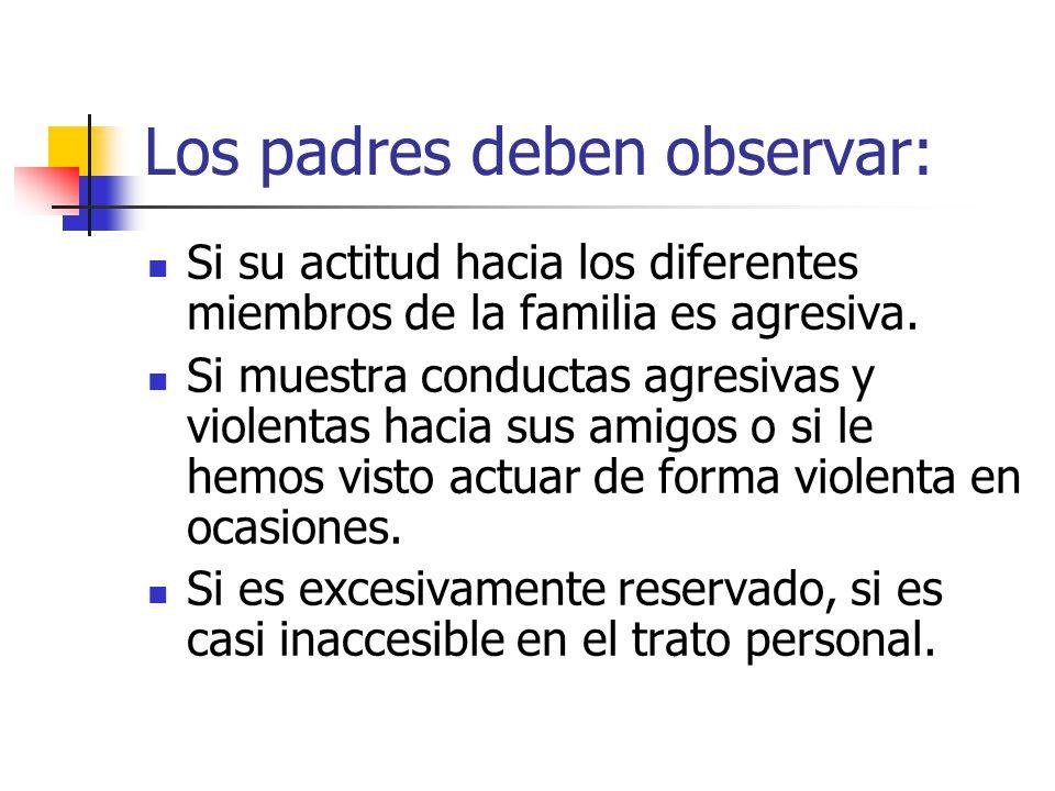 Los padres deben observar: Si su actitud hacia los diferentes miembros de la familia es agresiva. Si muestra conductas agresivas y violentas hacia sus