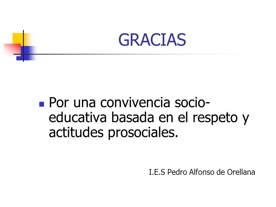 GRACIAS Por una convivencia socio- educativa basada en el respeto y actitudes prosociales. I.E.S Pedro Alfonso de Orellana