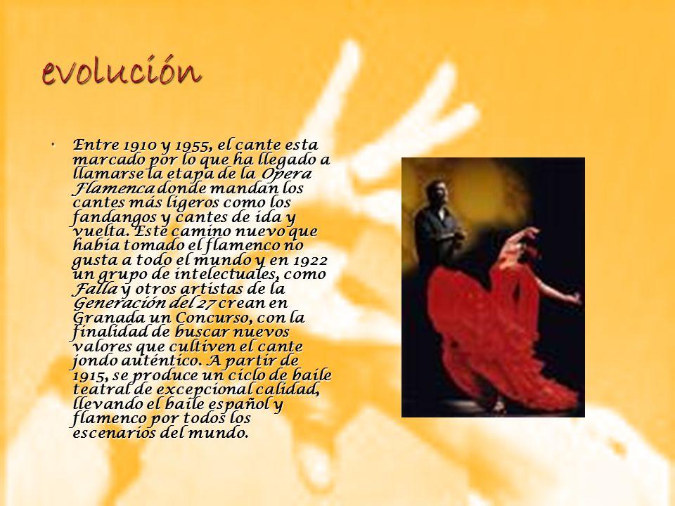 evolución Entre 1910 y 1955, el cante esta marcado por lo que ha llegado a llamarse la etapa de la Opera Flamenca donde mandan los cantes más ligeros