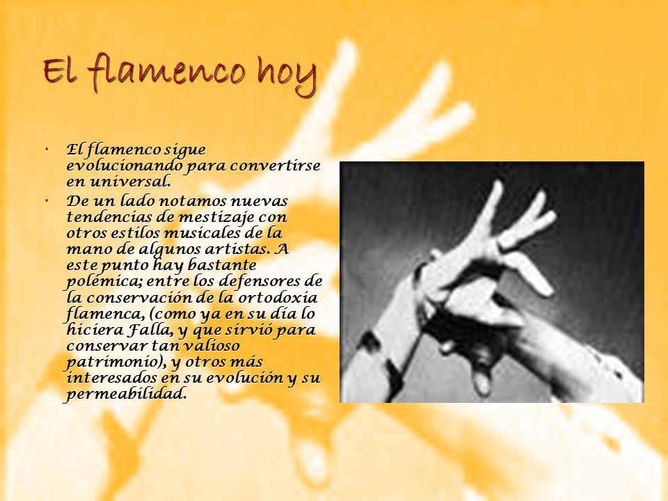 El flamenco hoy El flamenco sigue evolucionando para convertirse en universal. El flamenco sigue evolucionando para convertirse en universal. De un la