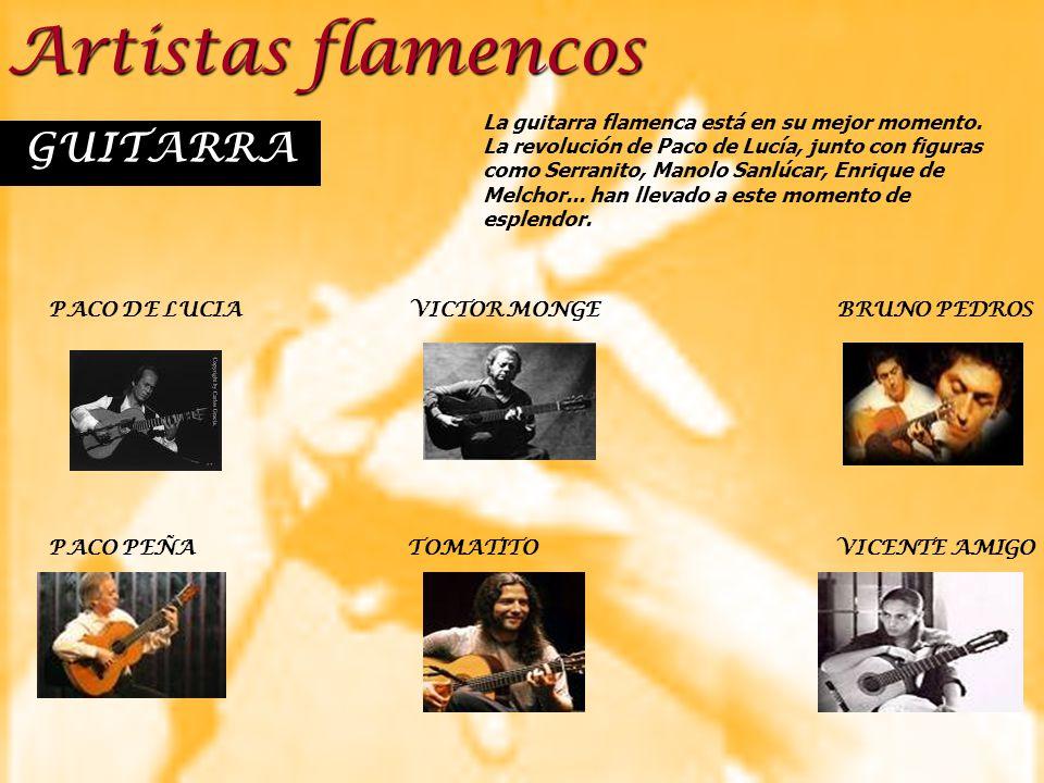 Artistas flamencos GUITARRA PACO DE LUCIAVICTOR MONGEBRUNO PEDROS PACO PEÑA TOMATITO VICENTE AMIGO La guitarra flamenca está en su mejor momento. La r