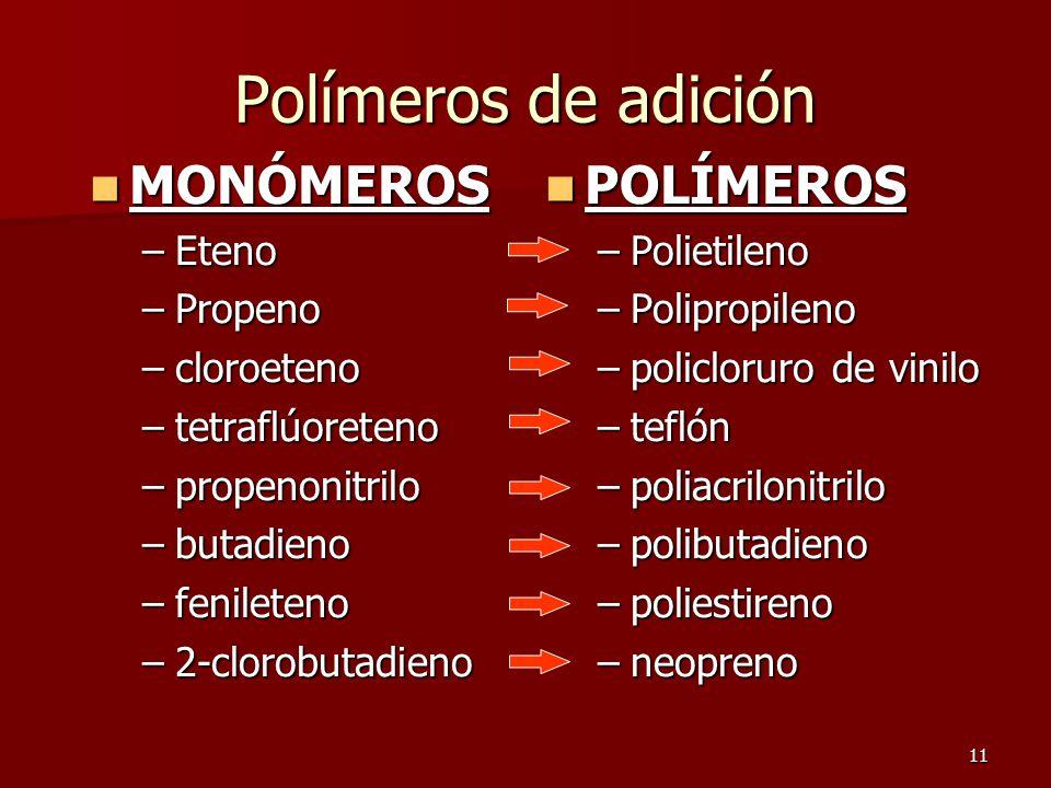 11 Polímeros de adición MONÓMEROS MONÓMEROS –Eteno –Propeno –cloroeteno –tetraflúoreteno –propenonitrilo –butadieno –fenileteno –2-clorobutadieno POLÍ