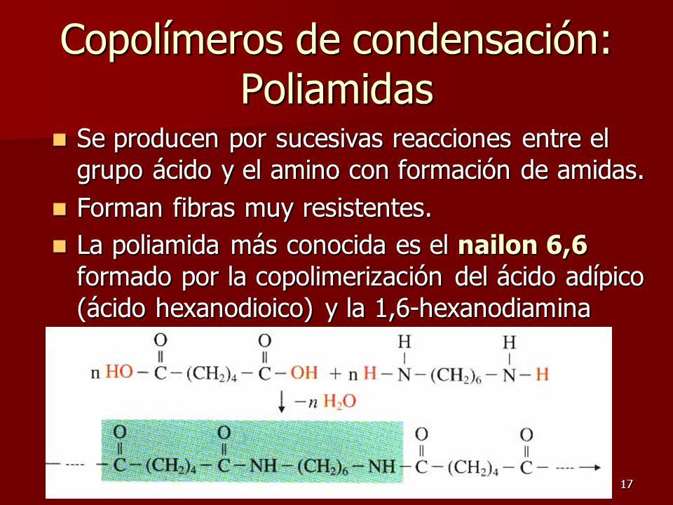 17 Copolímeros de condensación: Poliamidas Se producen por sucesivas reacciones entre el grupo ácido y el amino con formación de amidas. Se producen p