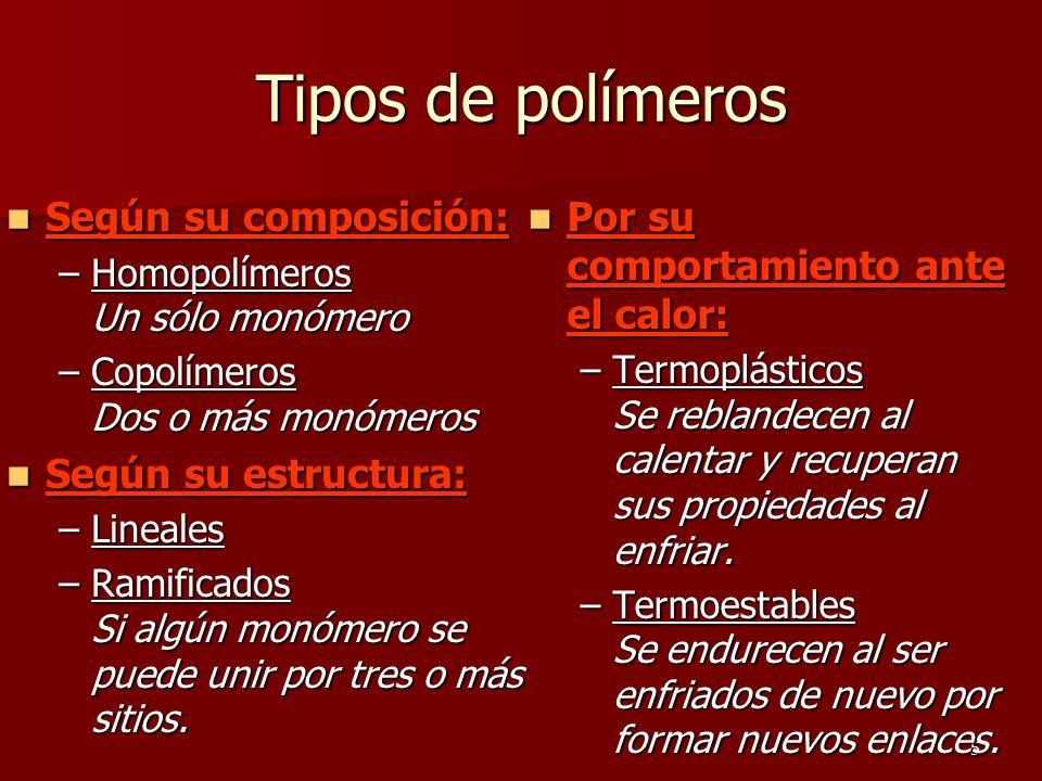 5 Tipos de polímeros Según su composición: Según su composición: –Homopolímeros Un sólo monómero –Copolímeros Dos o más monómeros Según su estructura: