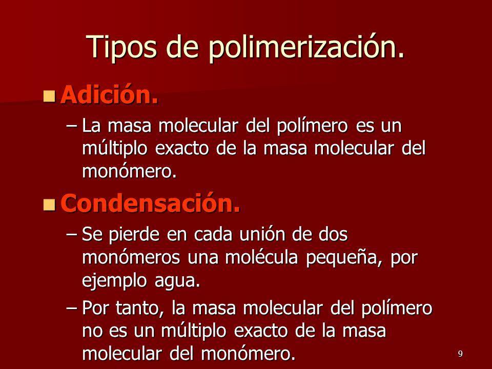9 Tipos de polimerización. Adición. Adición. –La masa molecular del polímero es un múltiplo exacto de la masa molecular del monómero. Condensación. Co