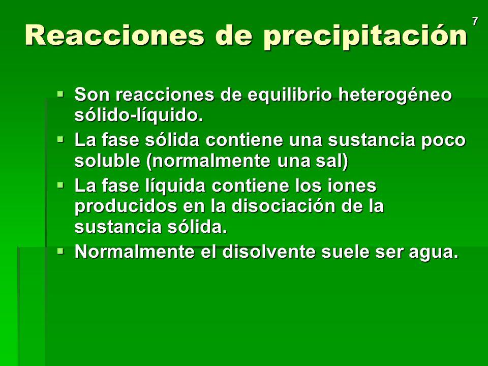 7 Reacciones de precipitación Son reacciones de equilibrio heterogéneo sólido-líquido.