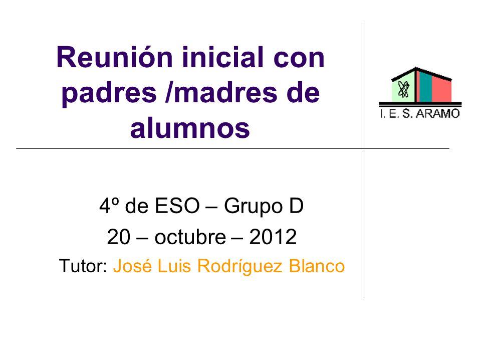 Reunión inicial con padres /madres de alumnos 4º de ESO – Grupo D 20 – octubre – 2012 Tutor: José Luis Rodríguez Blanco