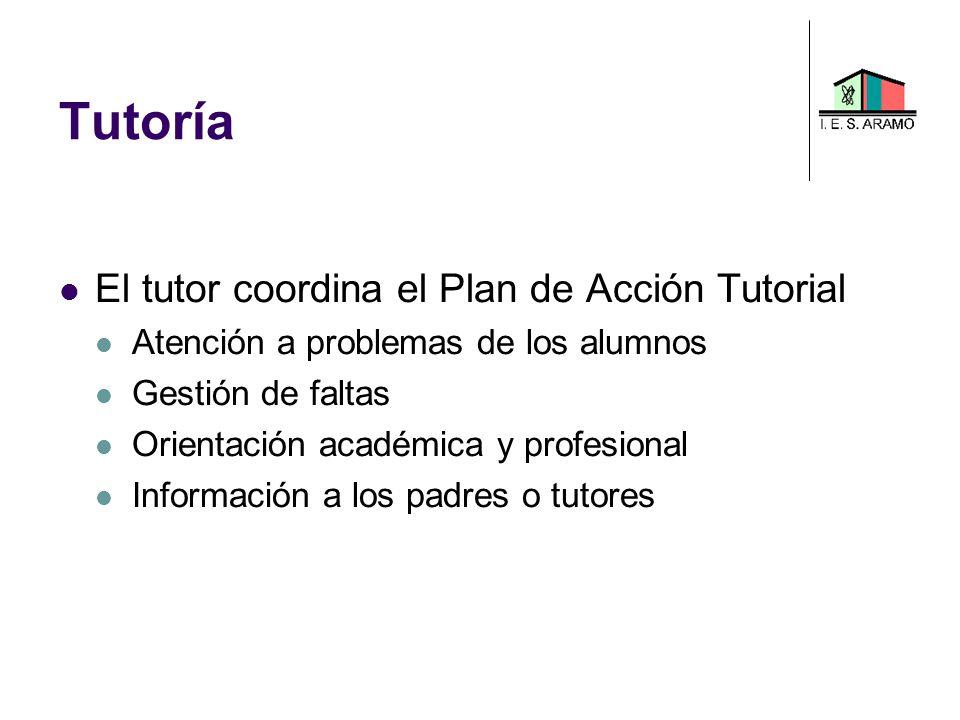 Tutoría El tutor coordina el Plan de Acción Tutorial Atención a problemas de los alumnos Gestión de faltas Orientación académica y profesional Informa