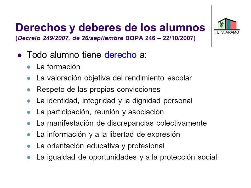 Derechos y deberes de los alumnos (Decreto 249/2007, de 26/septiembre BOPA 246 – 22/10/2007) Todo alumno tiene derecho a: La formación La valoración o