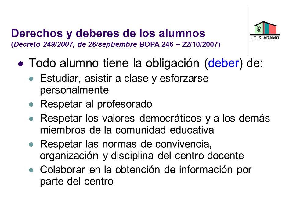 Todo alumno tiene la obligación (deber) de: Estudiar, asistir a clase y esforzarse personalmente Respetar al profesorado Respetar los valores democrát