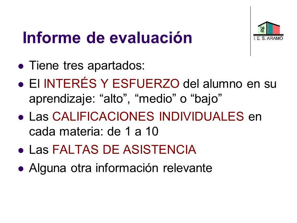 Informe de evaluación Tiene tres apartados: El INTERÉS Y ESFUERZO del alumno en su aprendizaje: alto, medio o bajo Las CALIFICACIONES INDIVIDUALES en