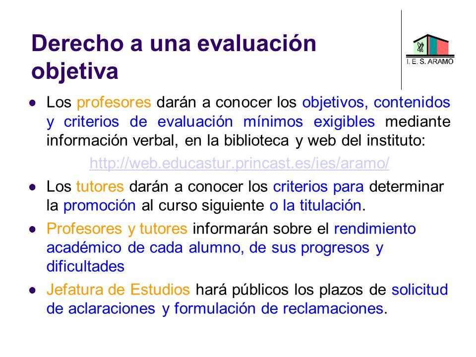 Derecho a una evaluación objetiva Los profesores darán a conocer los objetivos, contenidos y criterios de evaluación mínimos exigibles mediante inform