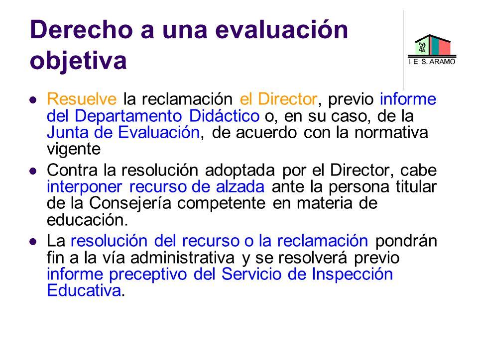 Resuelve la reclamación el Director, previo informe del Departamento Didáctico o, en su caso, de la Junta de Evaluación, de acuerdo con la normativa v