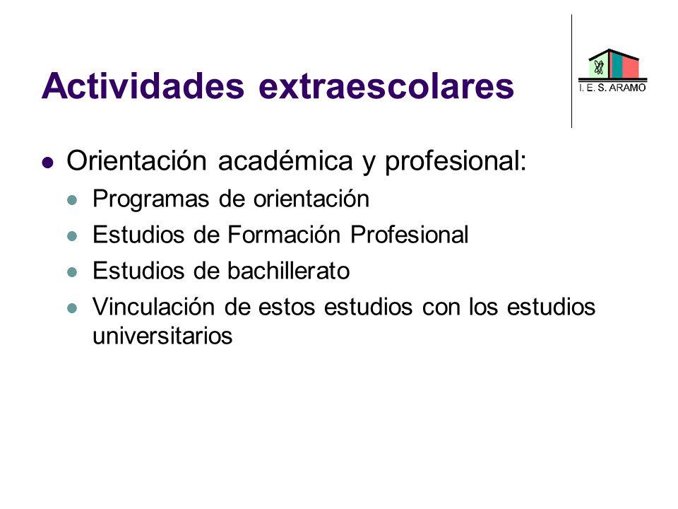 Actividades extraescolares Orientación académica y profesional: Programas de orientación Estudios de Formación Profesional Estudios de bachillerato Vi