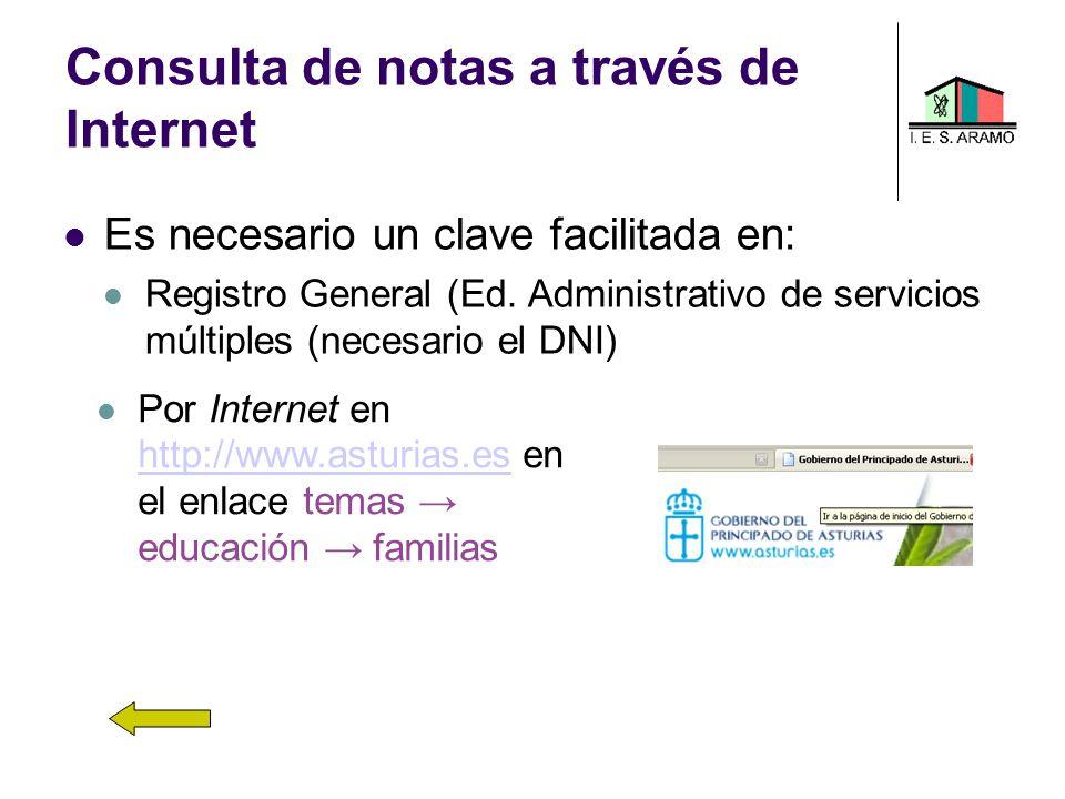 Consulta de notas a través de Internet Es necesario un clave facilitada en: Registro General (Ed. Administrativo de servicios múltiples (necesario el