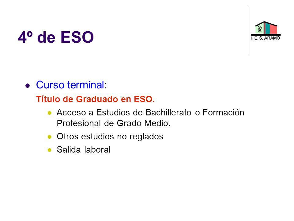 4º de ESO Curso terminal: Título de Graduado en ESO. Acceso a Estudios de Bachillerato o Formación Profesional de Grado Medio. Otros estudios no regla