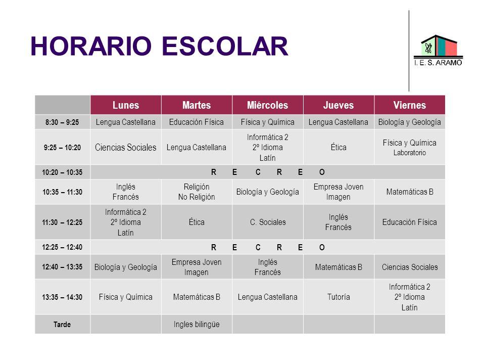 HORARIO ESCOLAR LunesMartesMiércolesJuevesViernes 8:30 – 9:25 Lengua CastellanaEducación FísicaFísica y QuímicaLengua CastellanaBiología y Geología 9:
