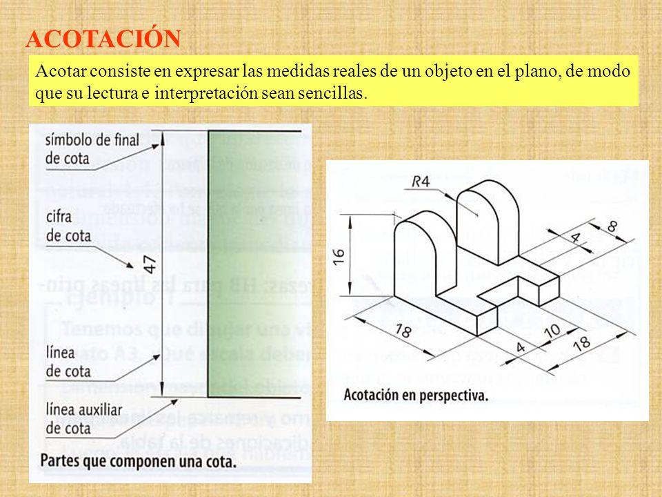 Normas de acotación Las líneas de cota, son paralelas a la arista que quieren acotar, y de longitud igual a ella.