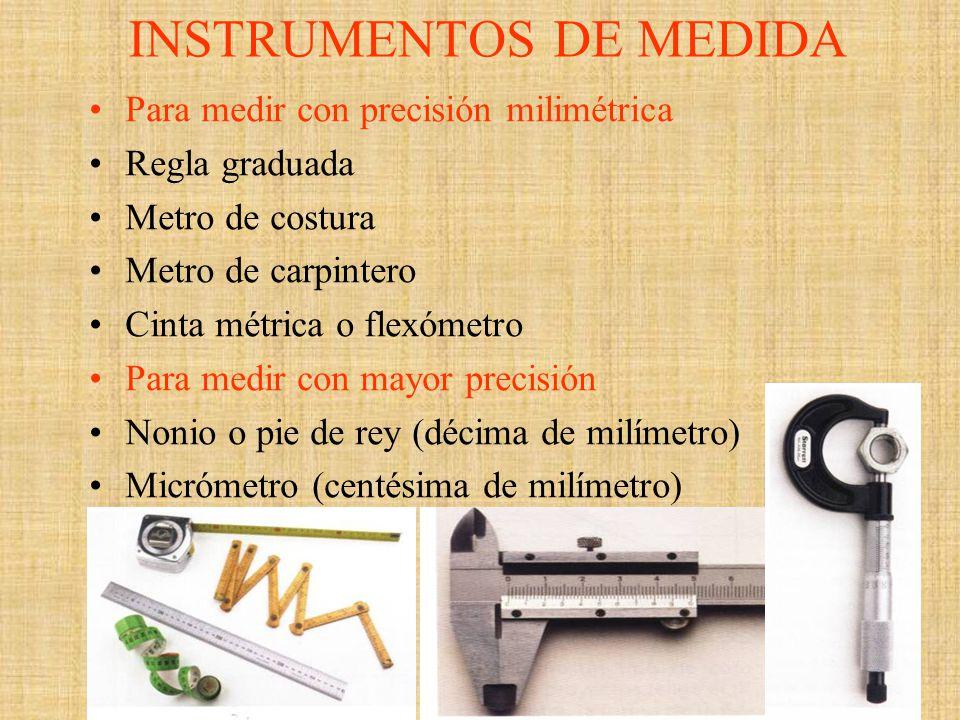 INSTRUMENTOS DE MEDIDA Para medir con precisión milimétrica Regla graduada Metro de costura Metro de carpintero Cinta métrica o flexómetro Para medir