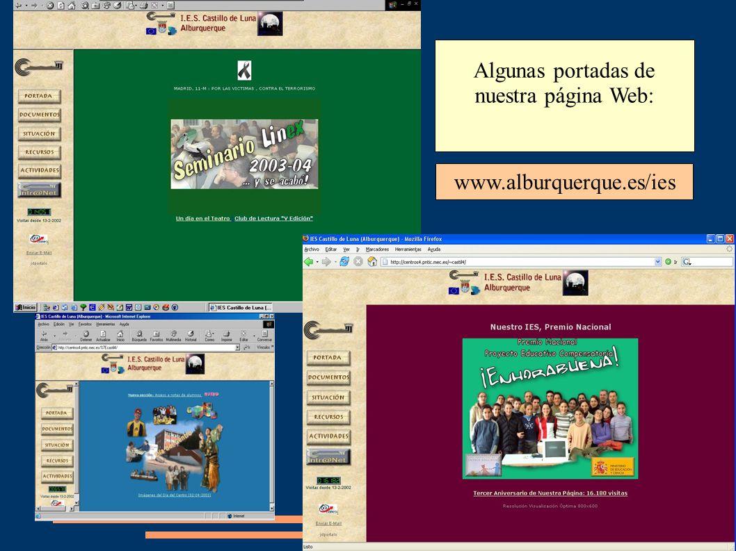 Algunas portadas de nuestra página Web: www.alburquerque.es/ies