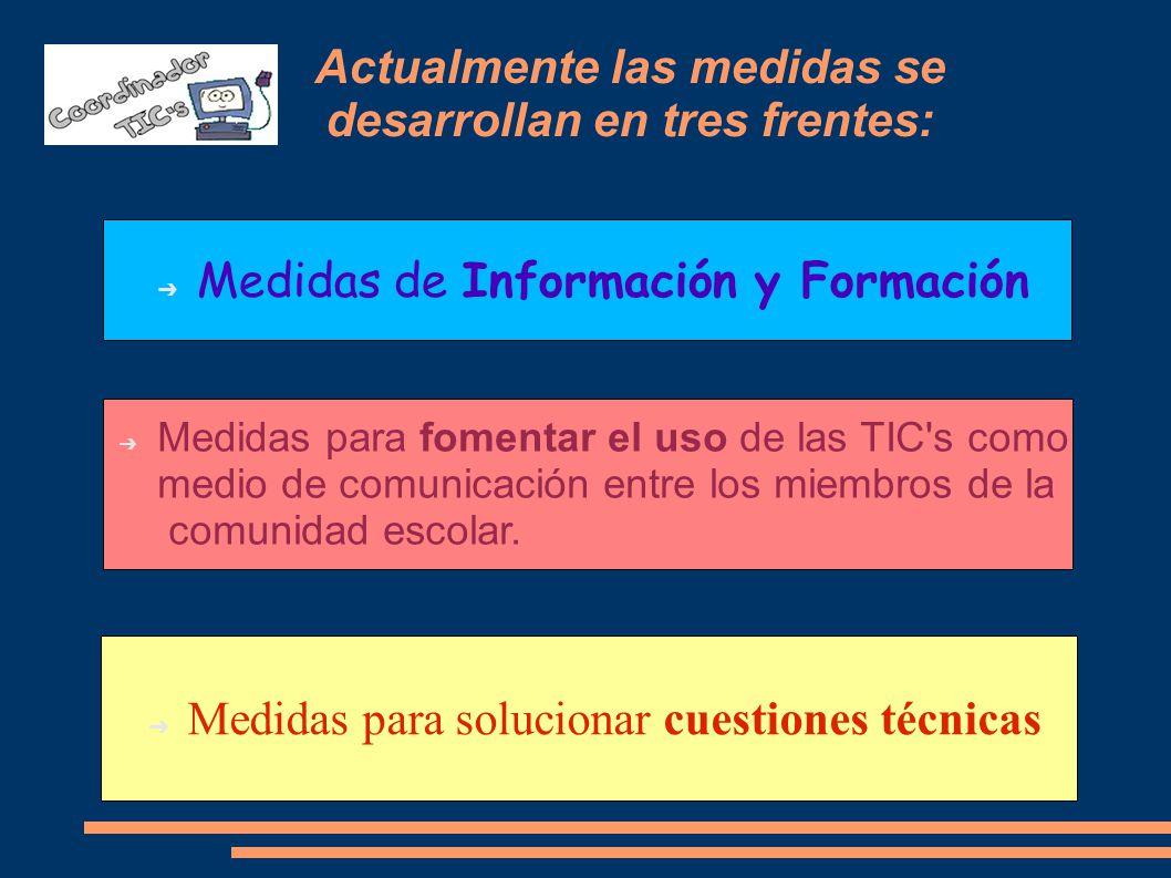 Actualmente las medidas se desarrollan en tres frentes: Medidas de Información y Formación Medidas para solucionar cuestiones técnicas Medidas para fomentar el uso de las TIC s como medio de comunicación entre los miembros de la comunidad escolar.