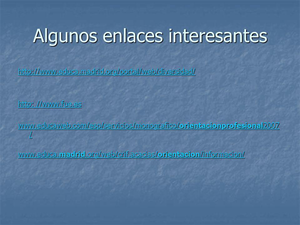 Algunos enlaces interesantes http://www.educa.madrid.org/portal/web/diversidad/ http: //www.fue.es http: //www.fue.es www.educaweb.com/esp/servicios/m