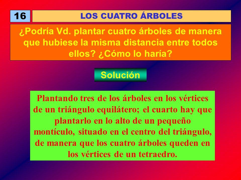 16 LOS CUATRO ÁRBOLES ¿Podría Vd. plantar cuatro árboles de manera que hubiese la misma distancia entre todos ellos? ¿Cómo lo haría? Solución Plantand
