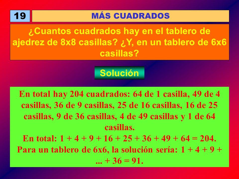 19 MÁS CUADRADOS ¿Cuantos cuadrados hay en el tablero de ajedrez de 8x8 casillas? ¿Y, en un tablero de 6x6 casillas? Solución En total hay 204 cuadrad